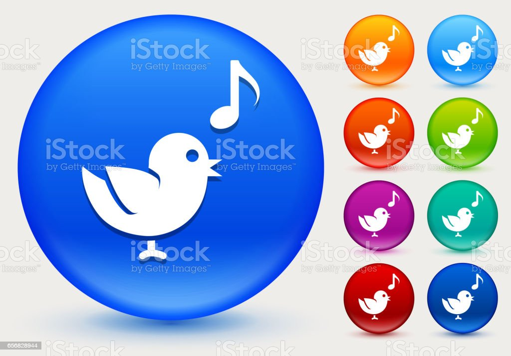 Bird Singing Icon on Shiny Color Circle Buttons vector art illustration