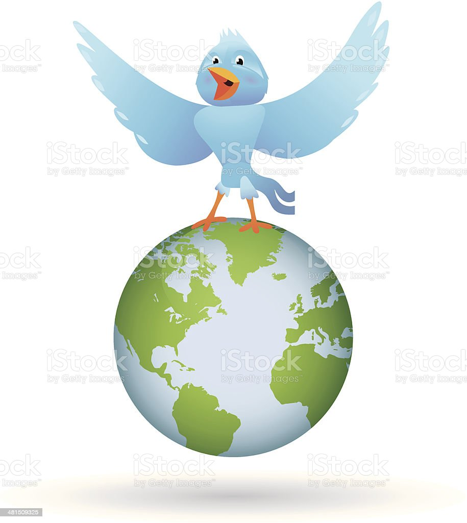 bird singing over the world royalty-free stock vector art