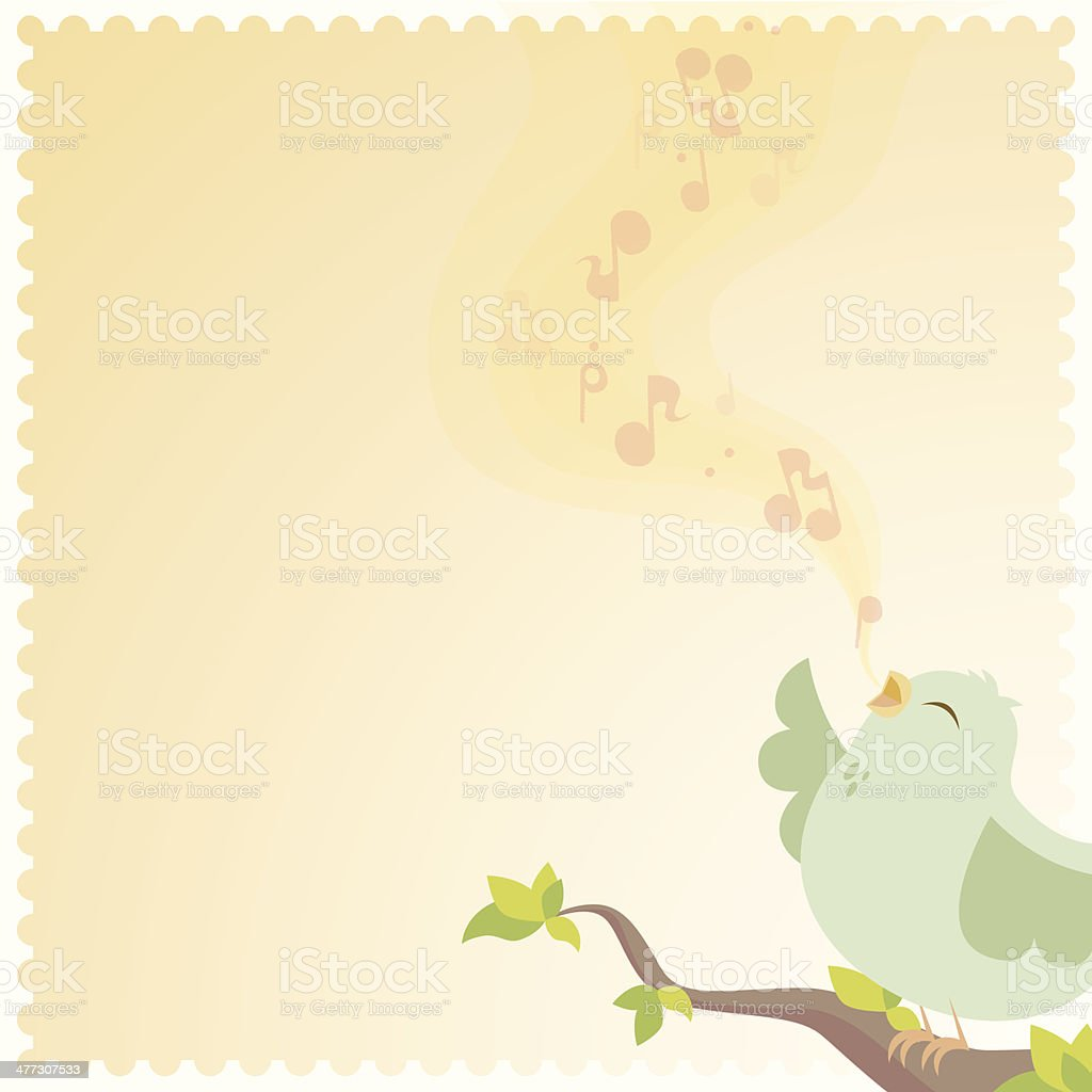 Bird Singing vector art illustration