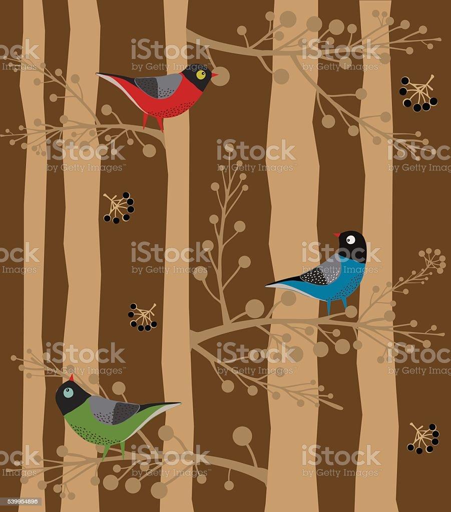 Bird  Sitting on the Tree, Forest vector art illustration