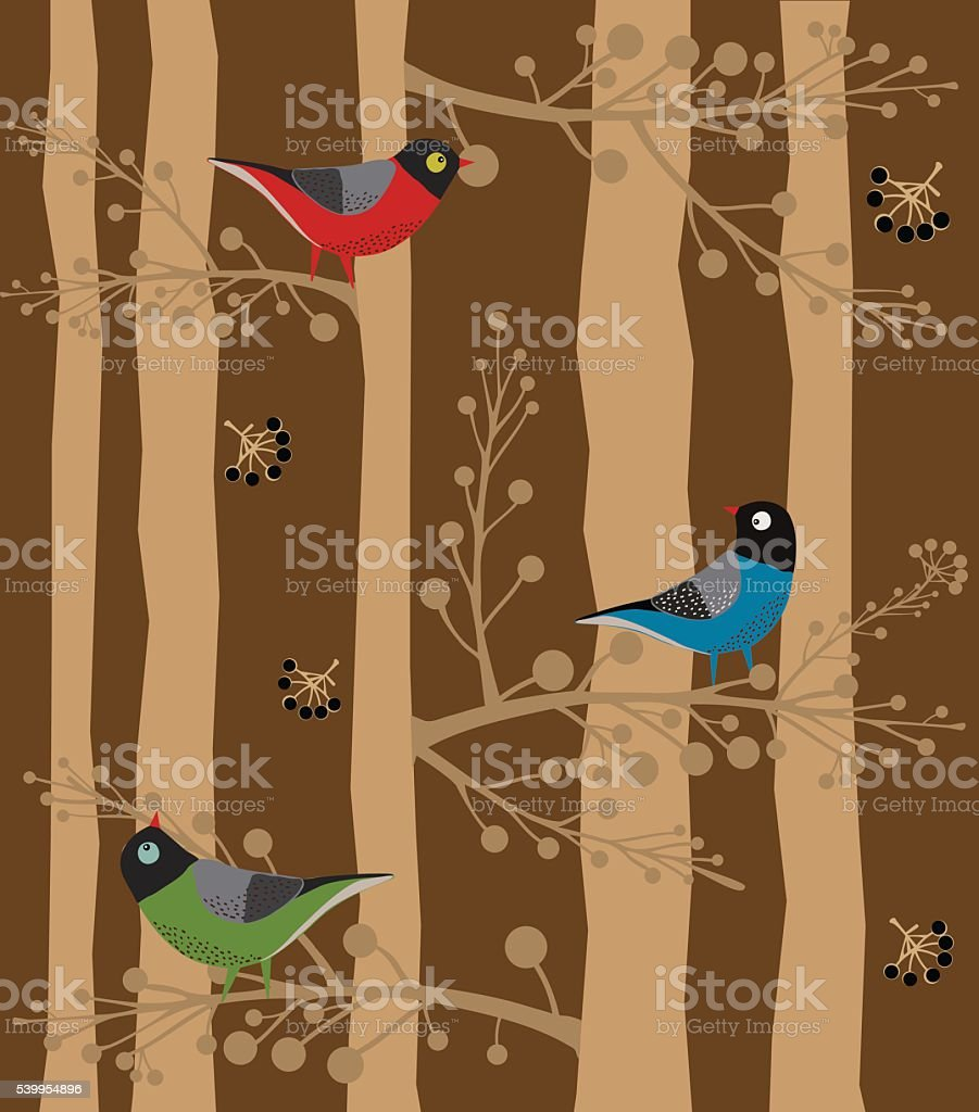 Bird  Sitting on the Tree, Forest vector art illustration