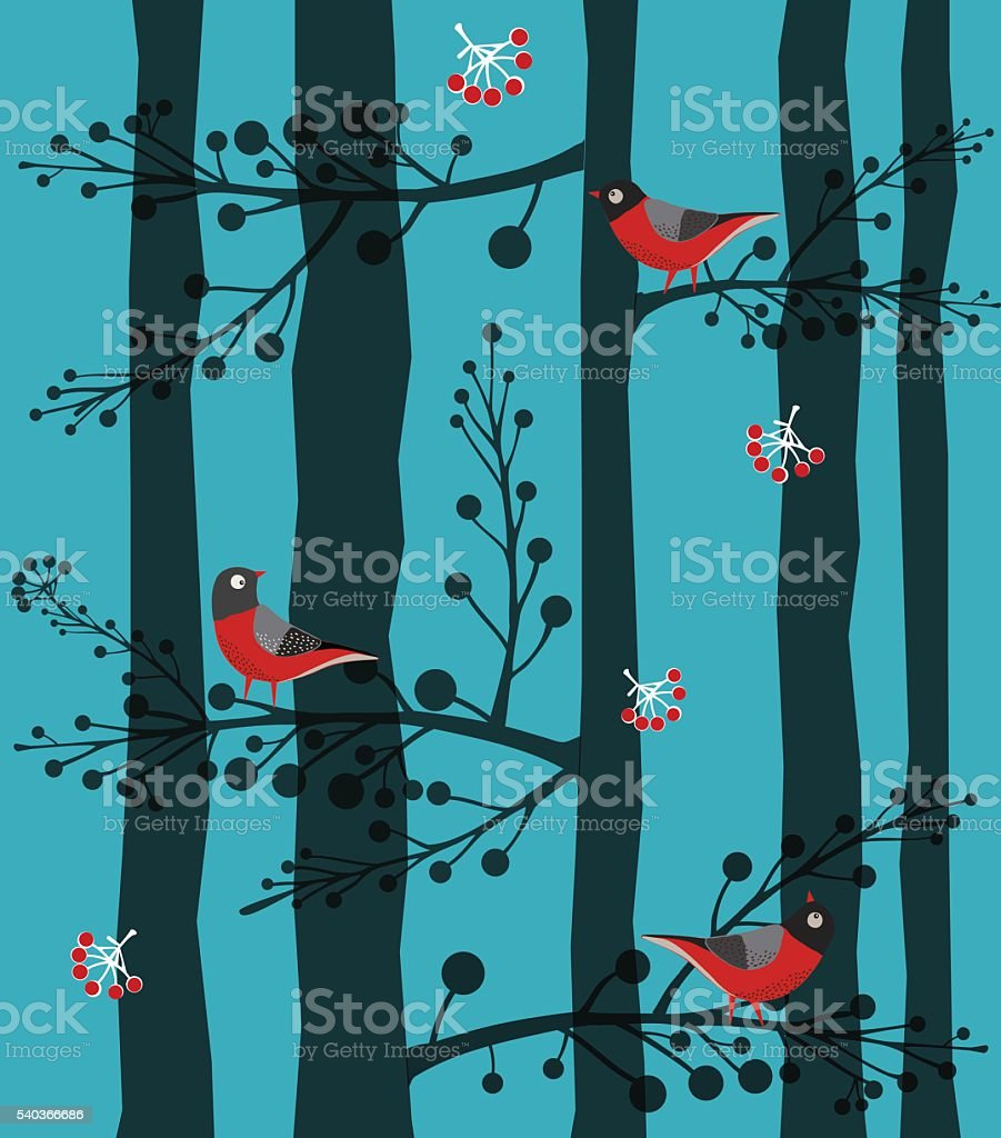 Bird  Sitting on the Tree, Forest, Winter vector art illustration
