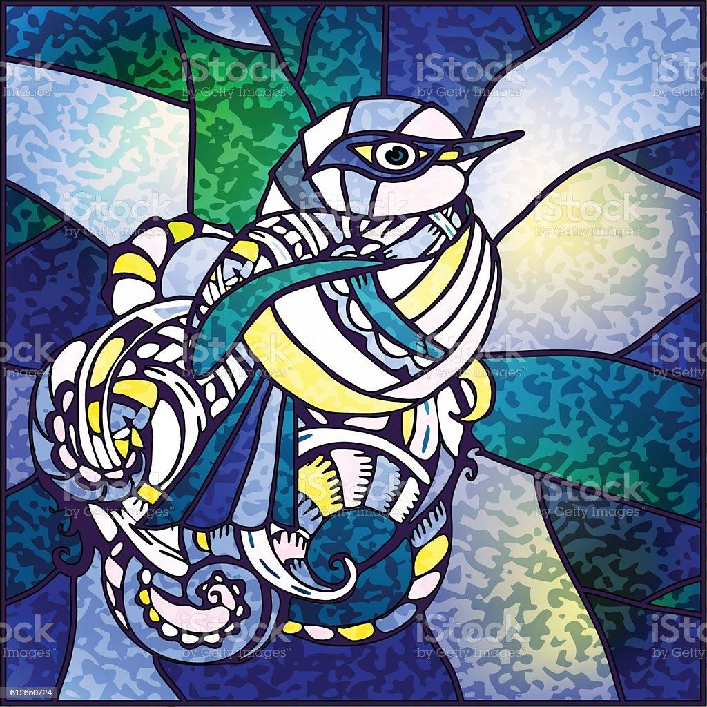 bird stained-glass style vector art illustration