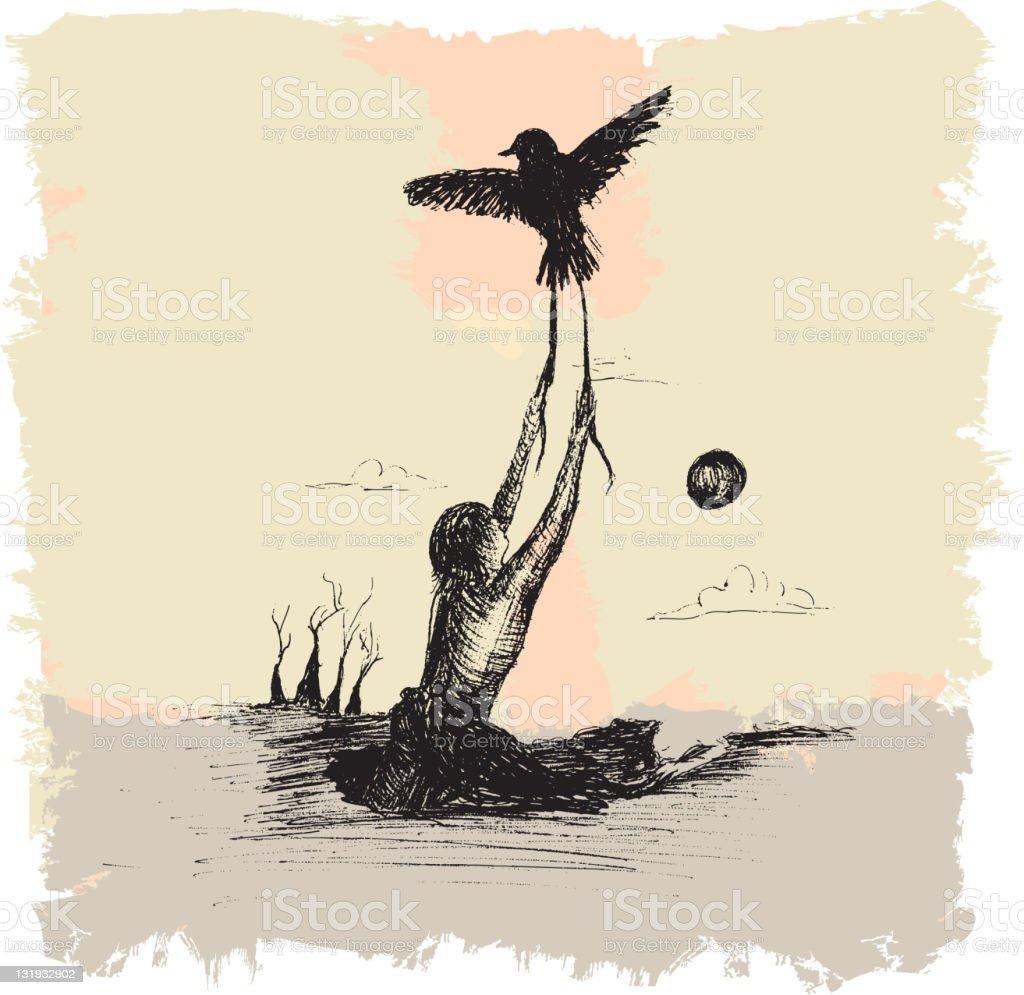 Bird taking flight and pulling person from earth vector art illustration