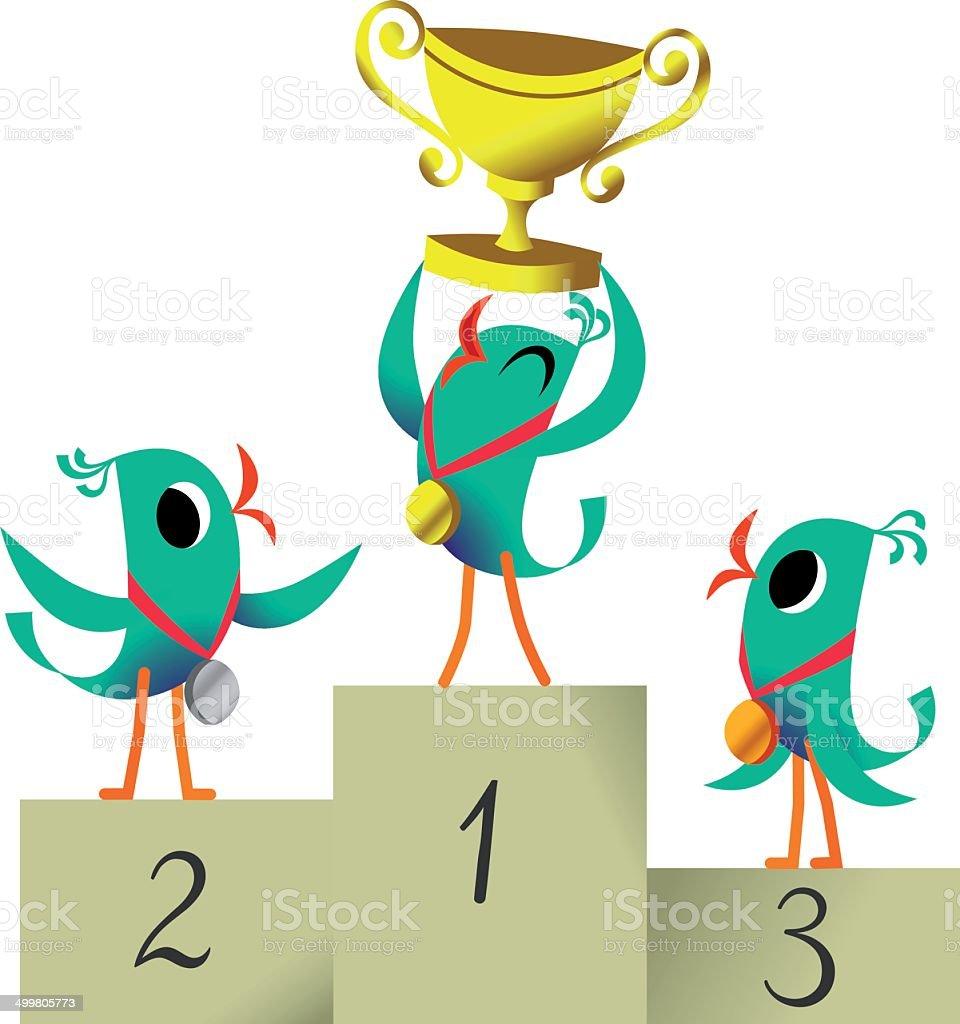 Bird the Winner. Bird with Cup. vector art illustration