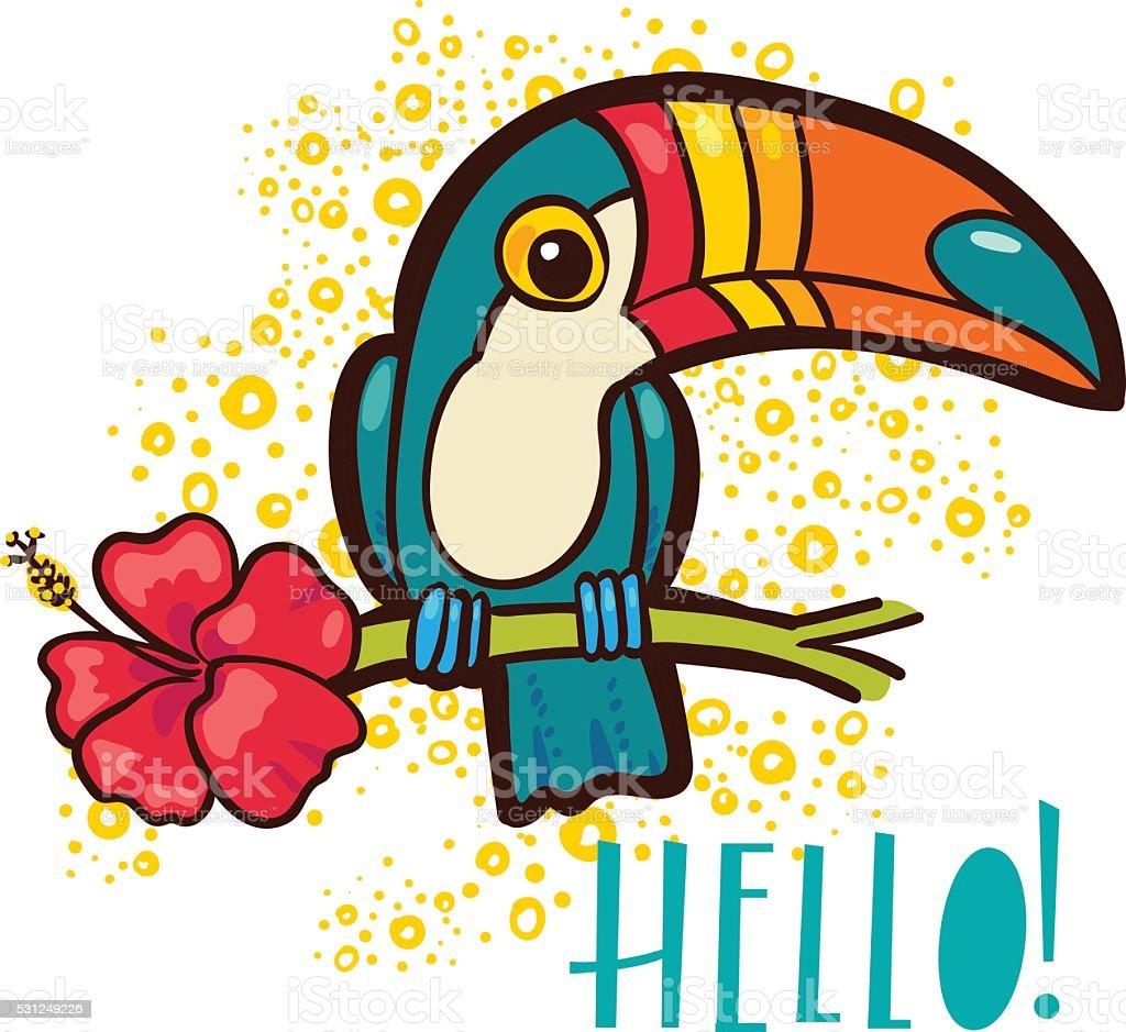 Bird Toucan, tropical hibiscus flower in cartoon style.  Hello! vector art illustration