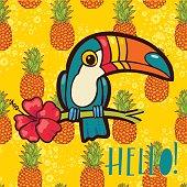 Bird Toucan, tropical pineapple  in cartoon style. The phrase Hello