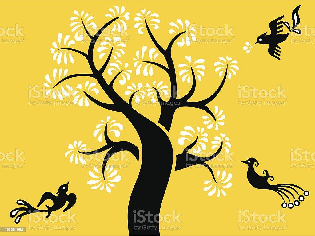 Bird & Tree royalty-free stock vector art
