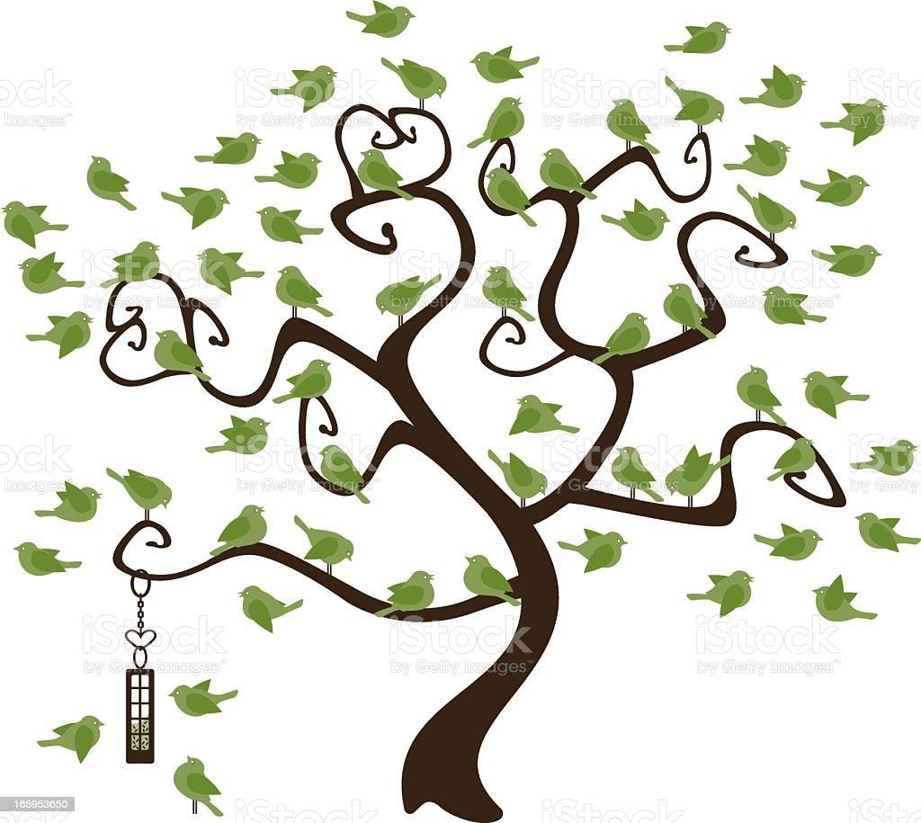 Bird Tree vector art illustration