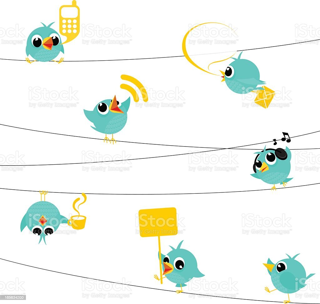 Bird, tweet, bluebird, feed, social media, text, follow, cartoon, minimil vector art illustration