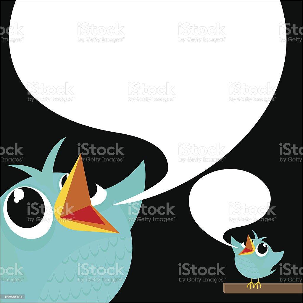 Bird, tweet, bluebird, feed, social media, text, follow, cartoon, vector art illustration