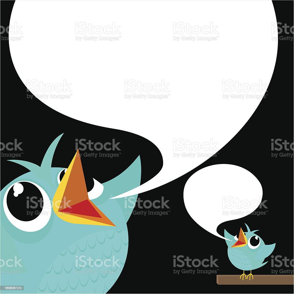 Bird, tweet, bluebird, feed, social media, text, follow, cartoon, vector art illustration