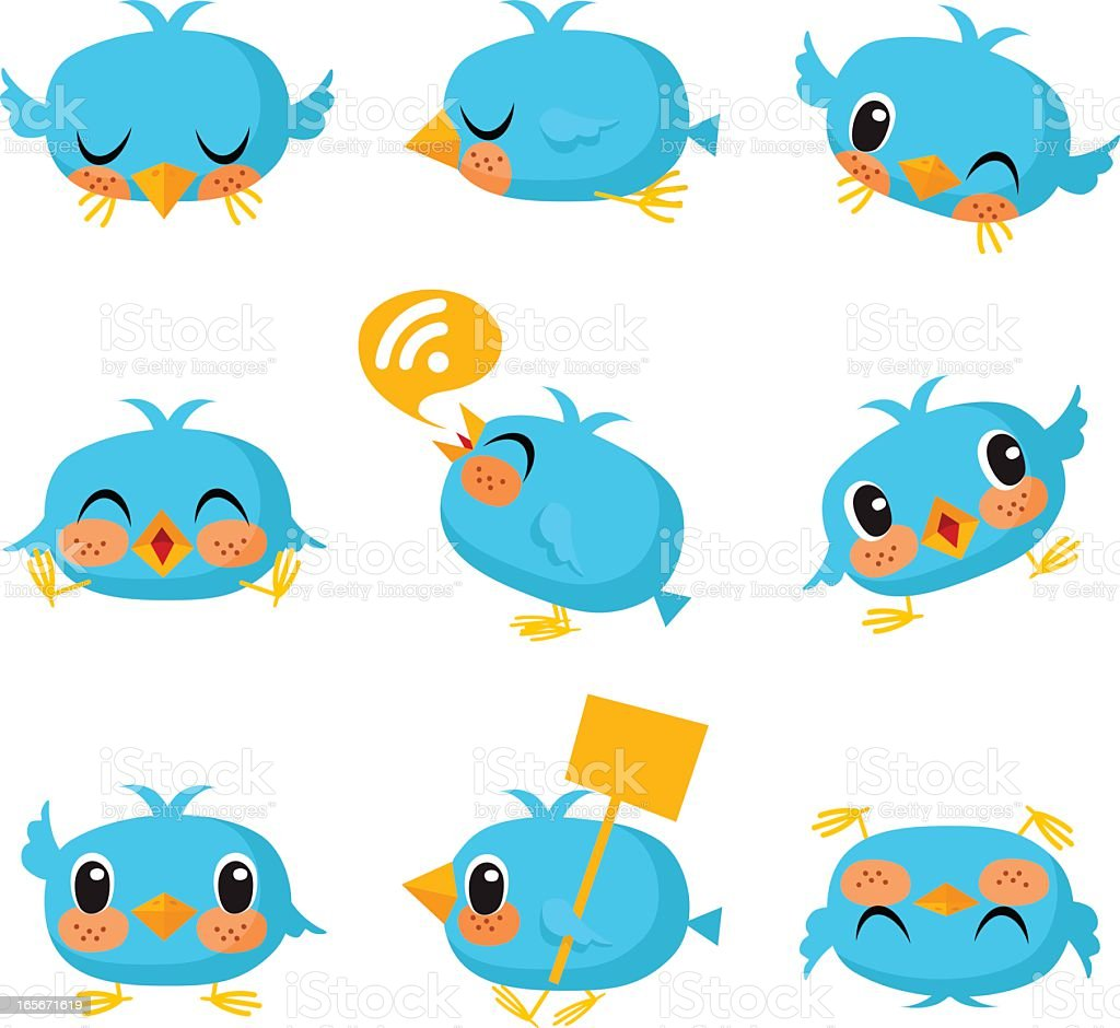 Bird, tweet, bluebird, feed, social media, text, follow, cartoon royalty-free stock vector art