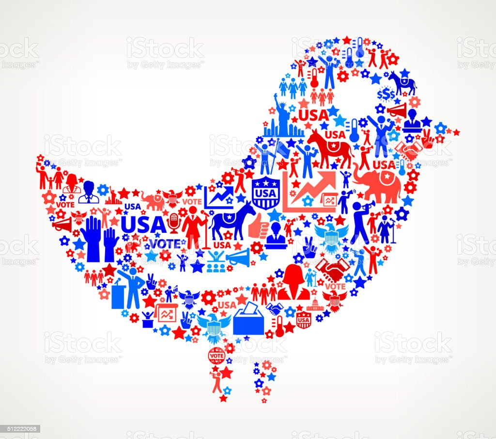 Bird Vote and Elections USA Patriotic Icon Pattern vector art illustration