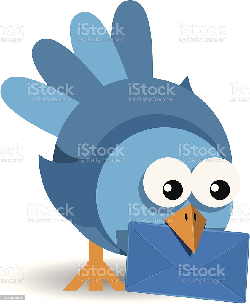bird with a blue envelope royalty-free stock vector art