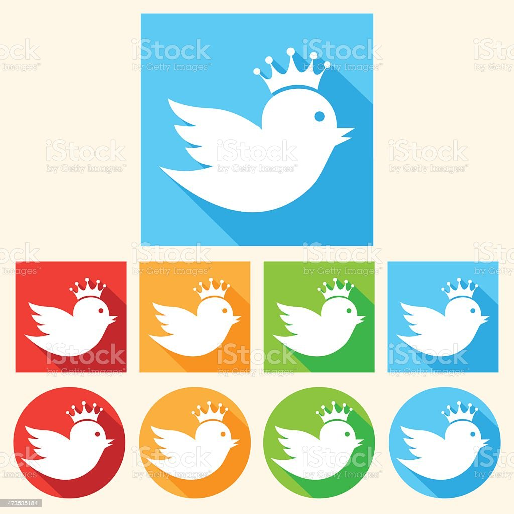 Bird with a crown set of colorful icons vector art illustration