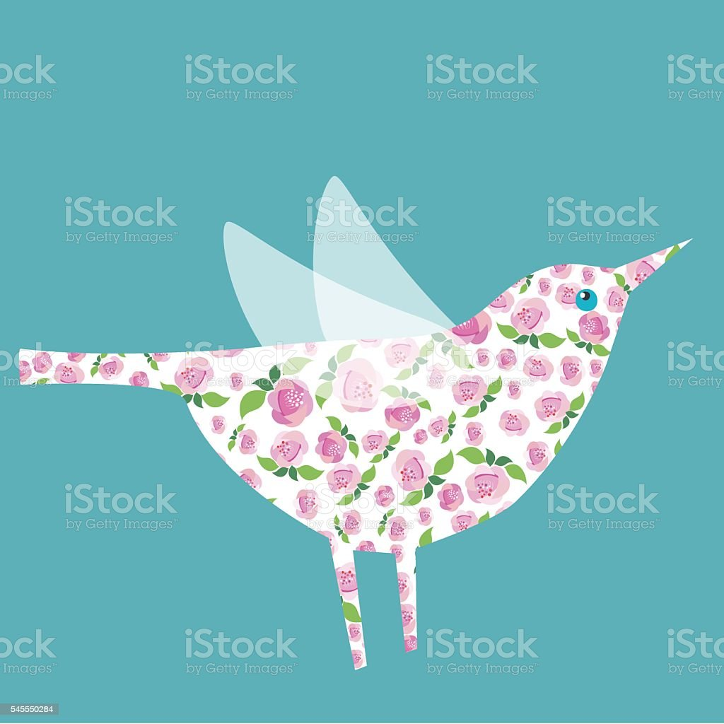 Bird with Floral ornament vector art illustration