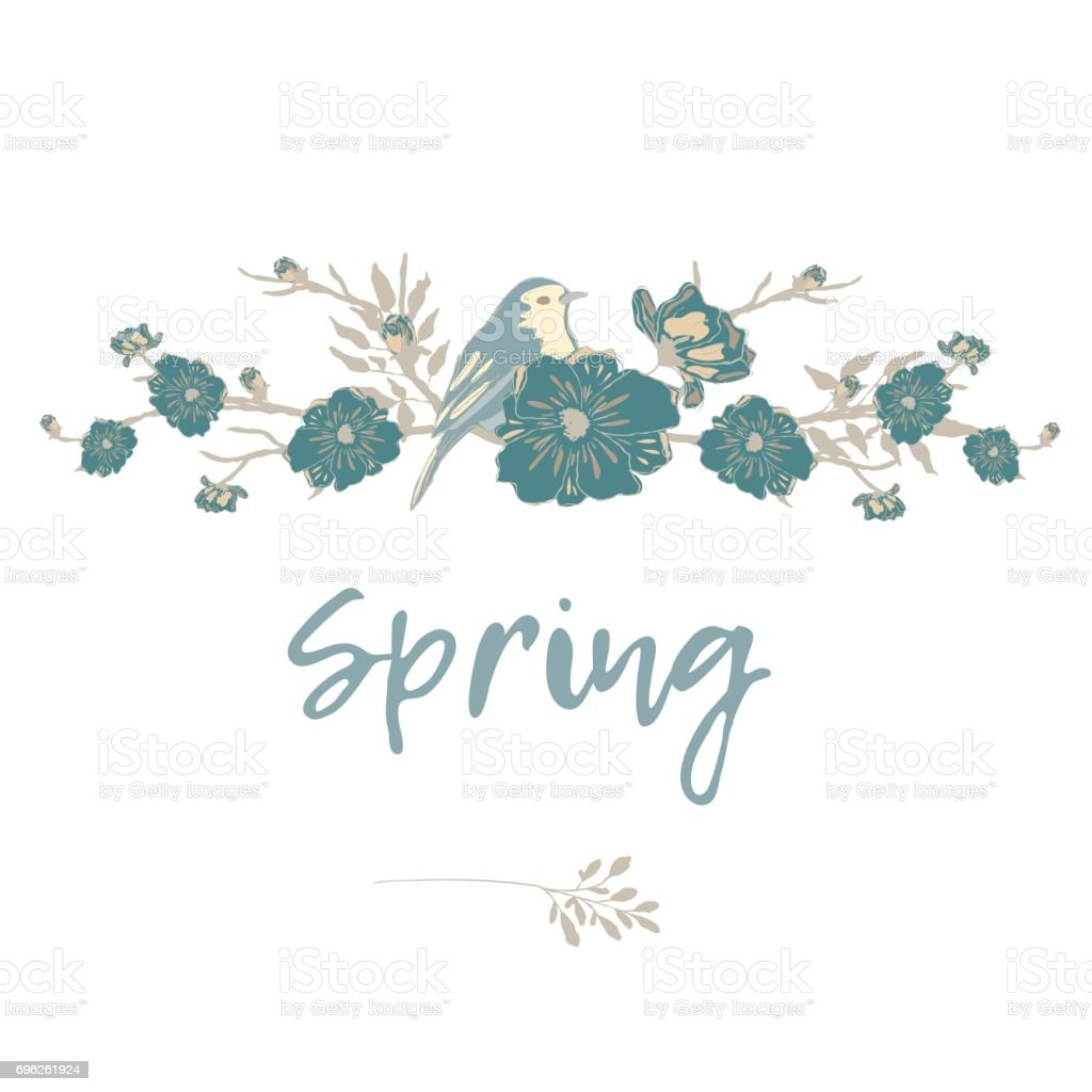 Bird with flowers and branches Border for text. vector art illustration