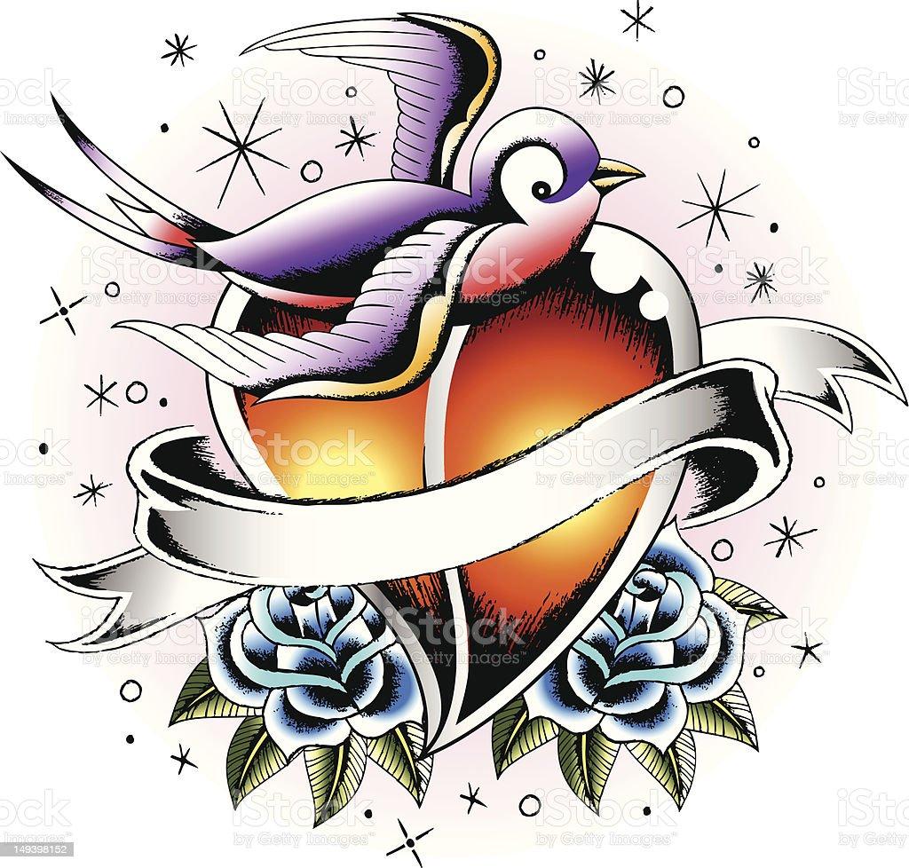 Uccello con cuore Tatuaggio illustrazione royalty-free