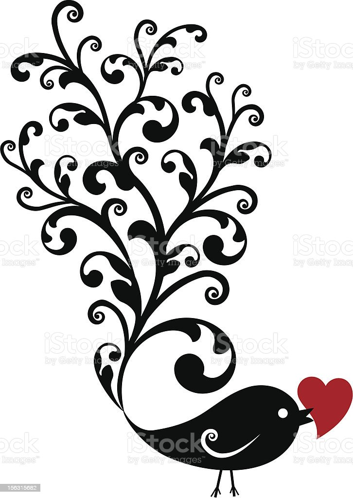 bird with red heart royalty-free stock vector art