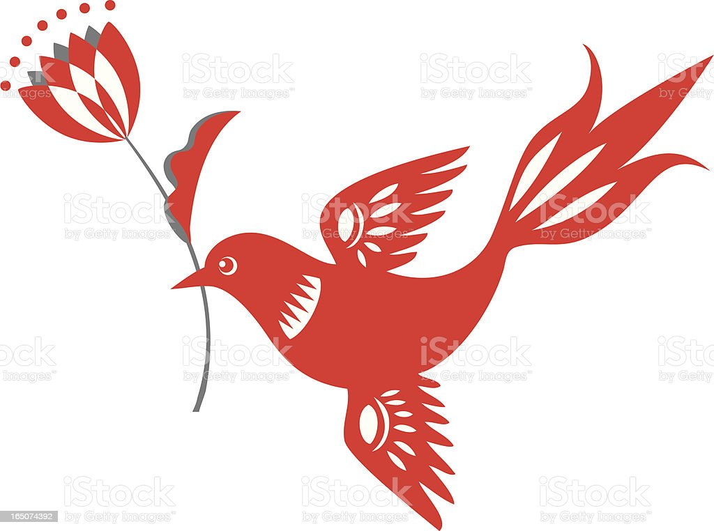 Bird with Tulip Delight vector art illustration