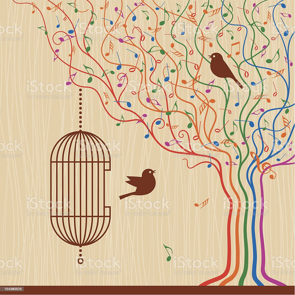 Birdcage On The Musical Tree royalty-free stock vector art