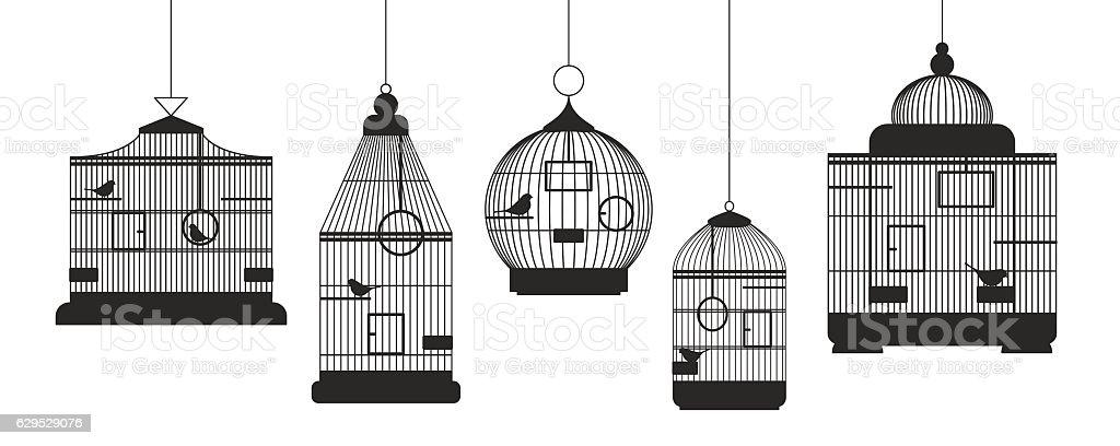 Birdcages Row Set. Vector vector art illustration