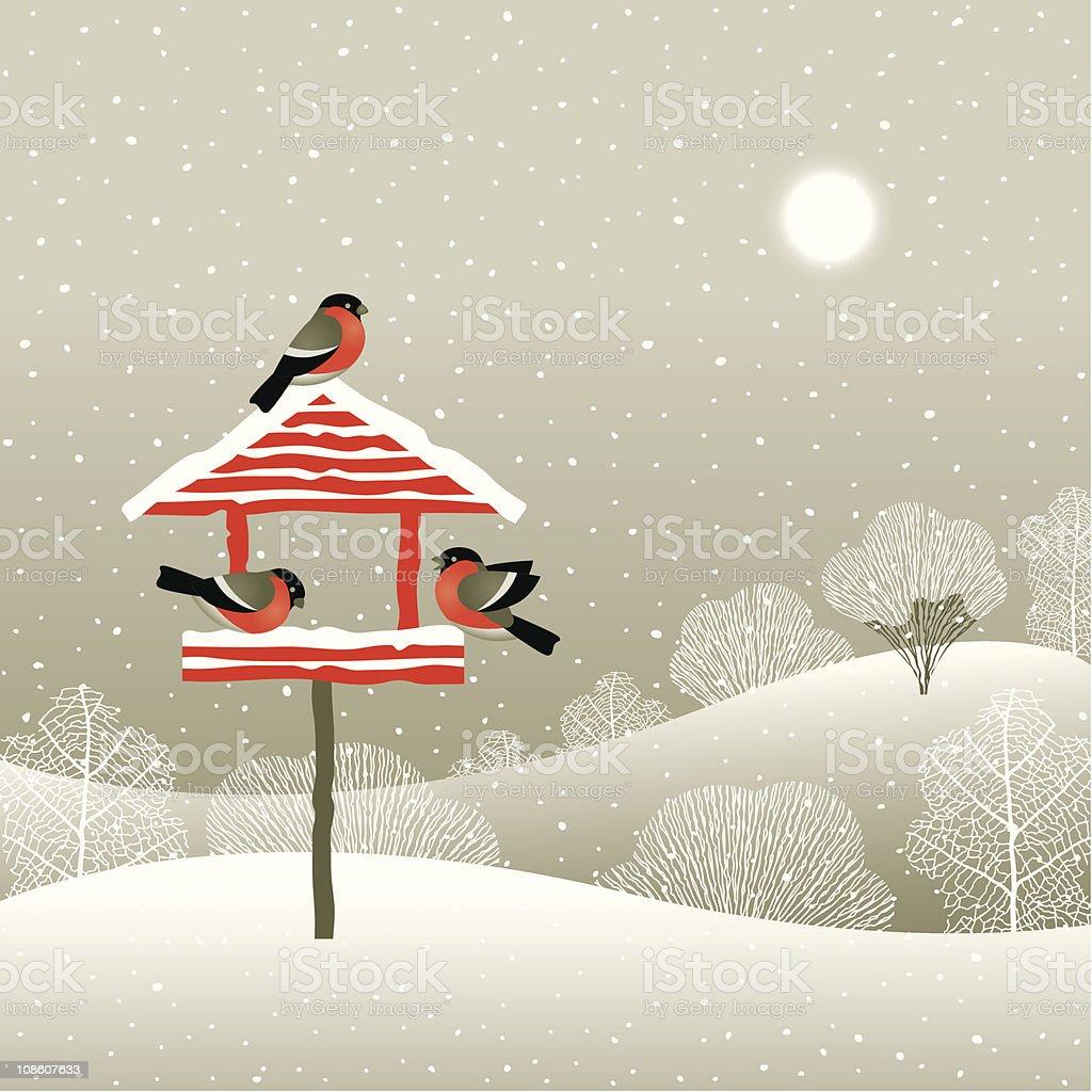 Birdfeeder in winter forest vector art illustration