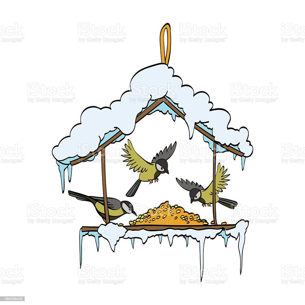 Birdfeeder in winter forest. Vector vector art illustration