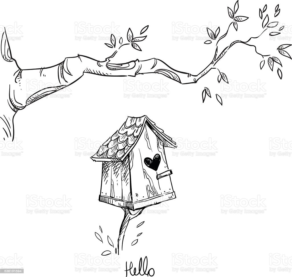 Birdhouse and the tree branch vector art illustration