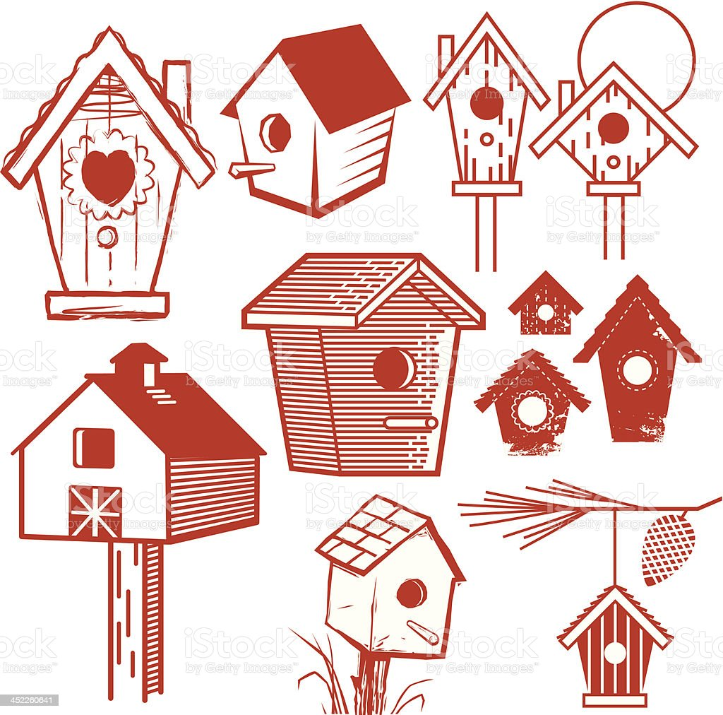Birdhouse Collection royalty-free stock vector art