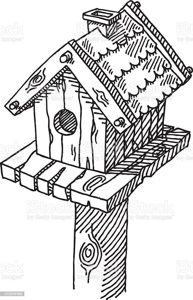Birdhouse Drawing vector art illustration