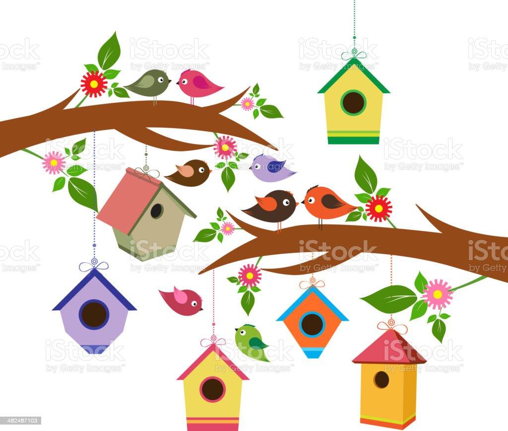 Birdhouse for spring vector art illustration