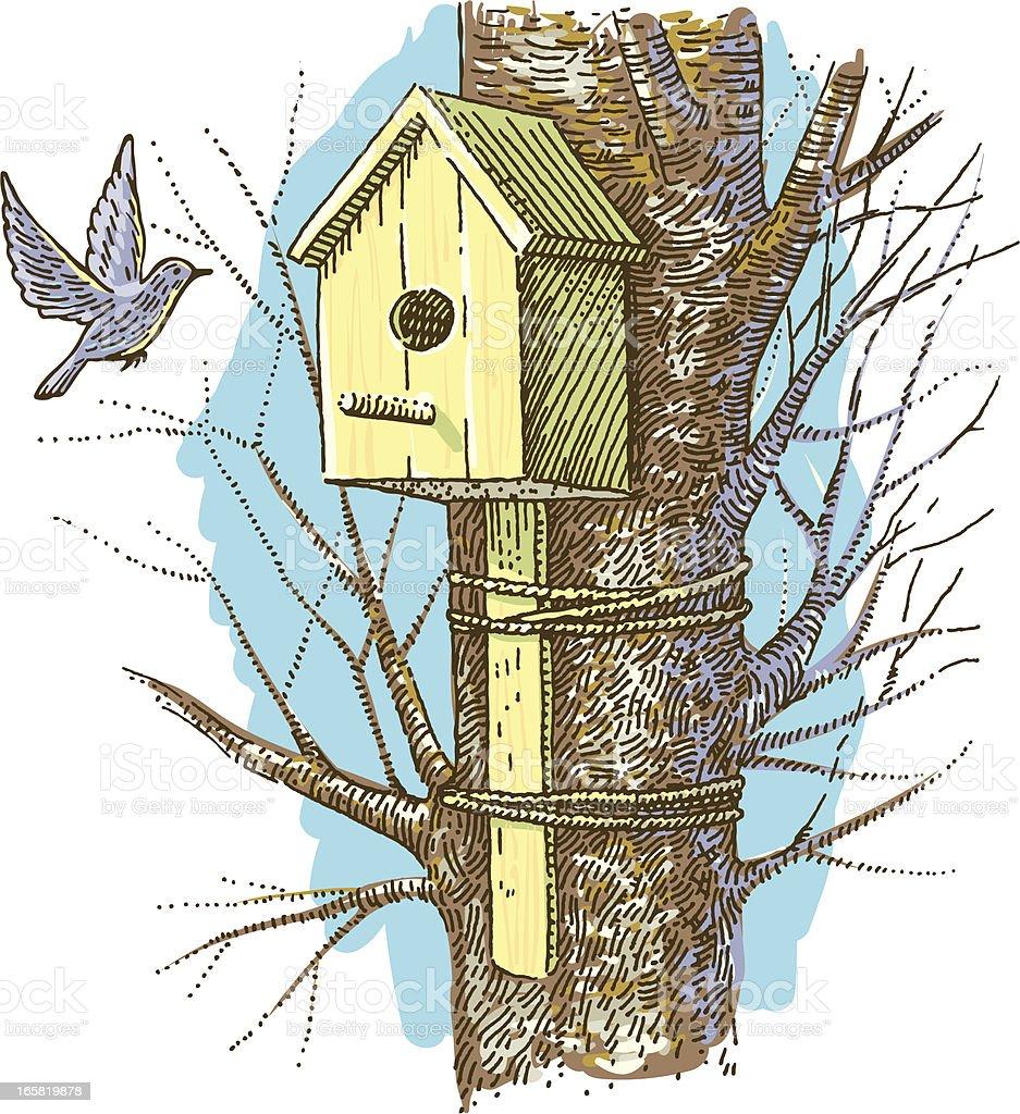 Birdhouse for the Bluebirds royalty-free stock vector art
