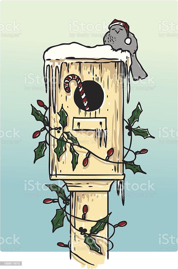 Birdhouse in Winter royalty-free stock vector art