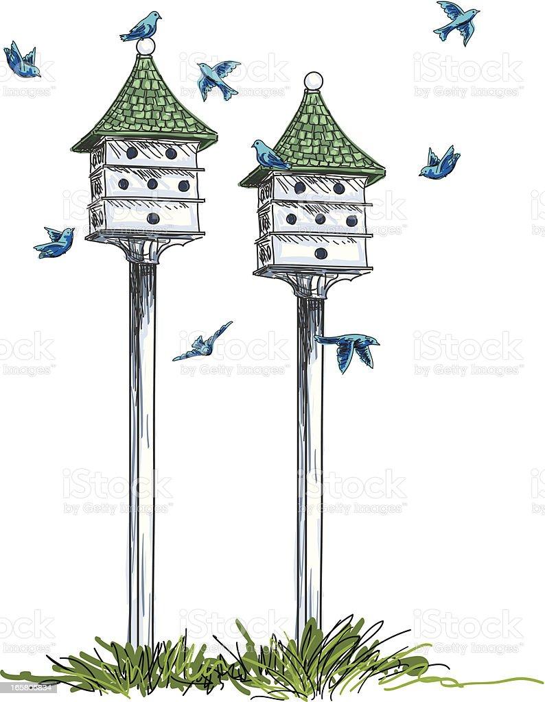 Birdhouses And Birds Illustration vector art illustration