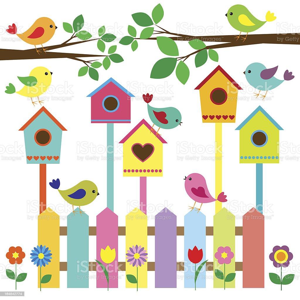 Birdhouses and birds vector art illustration