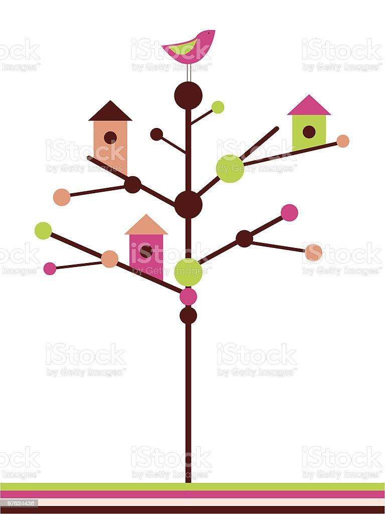 Birdhouses vector art illustration