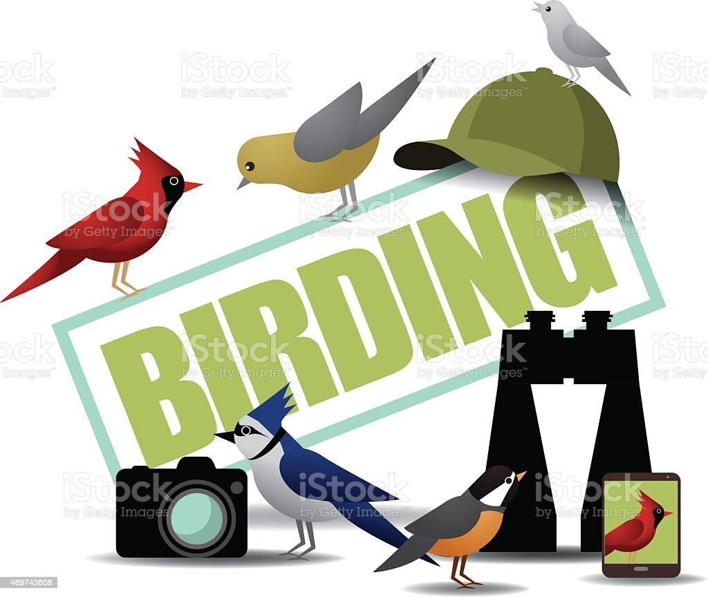 Birding icon with binoculars camera and smartphone vector art illustration