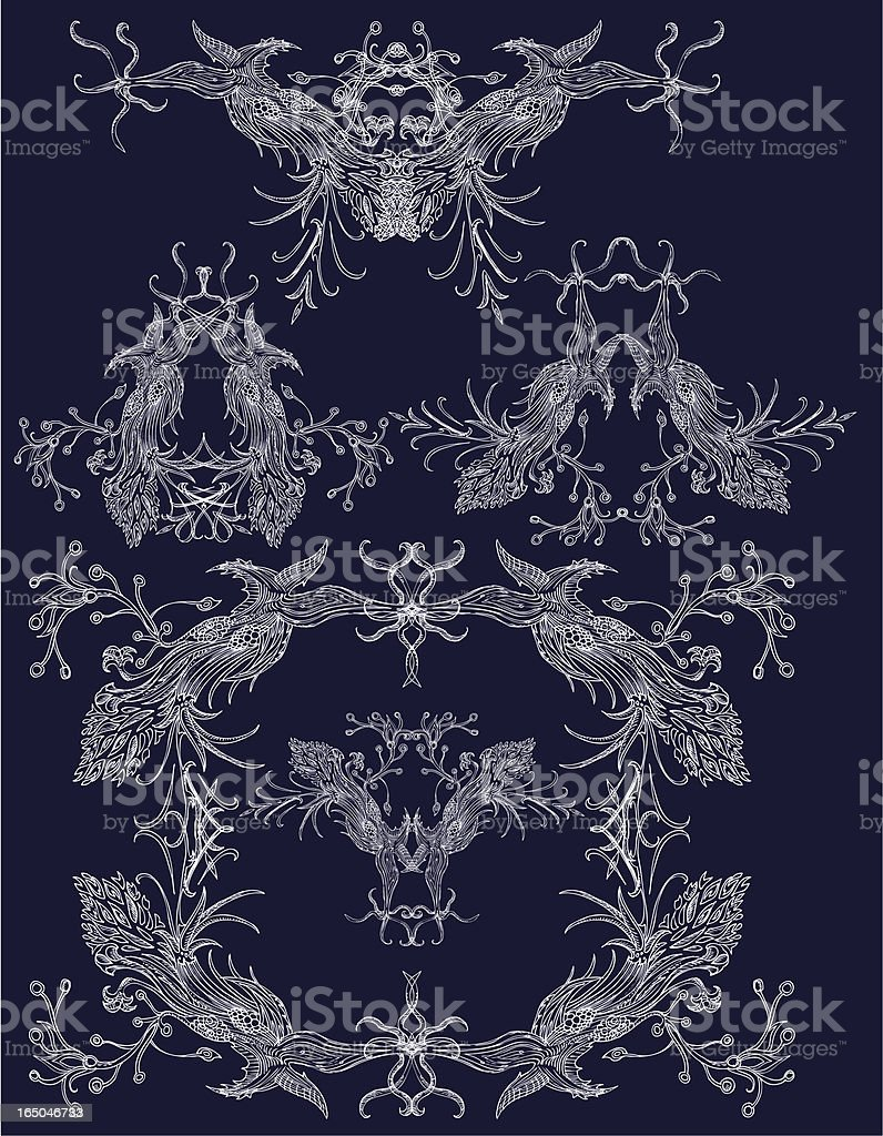 bird-like decorative elements royalty-free stock vector art