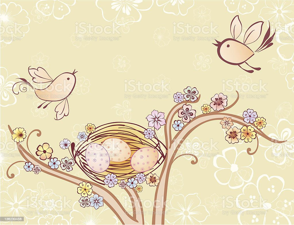 Birds and a nest royalty-free stock vector art