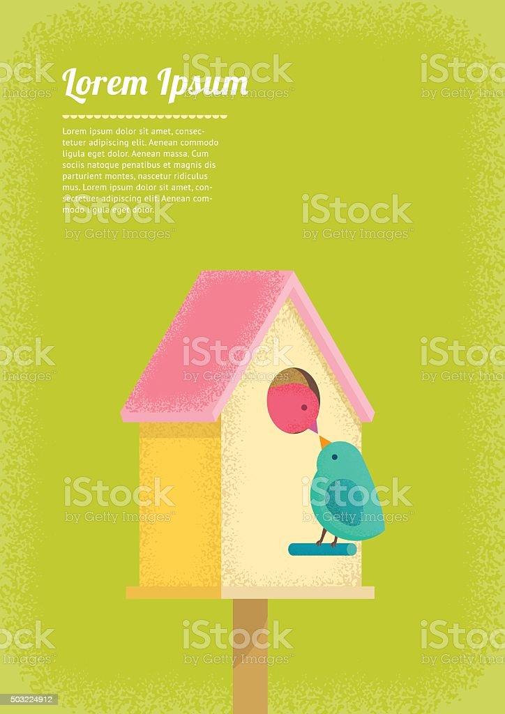 birds and birdhouse vector art illustration