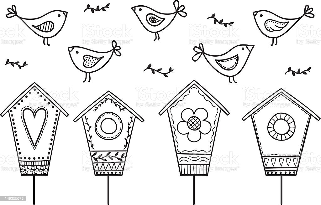 Birds and birdhouses vector art illustration