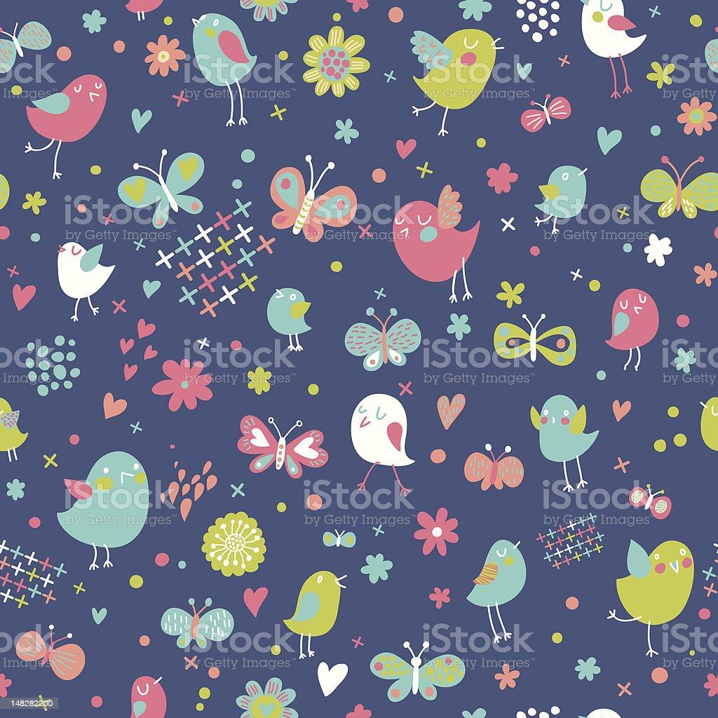 Birds and butterflies royalty-free stock vector art