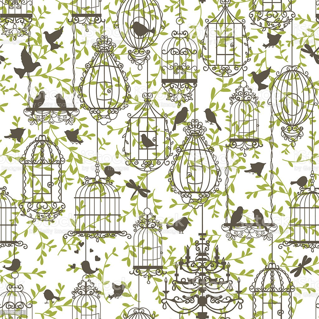 Birds and cages vintage pattern royalty-free stock vector art