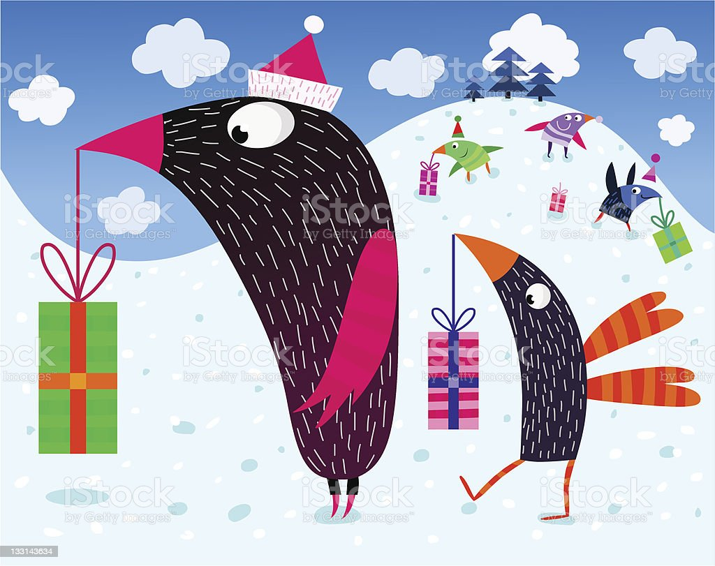 Birds and Christmas presents royalty-free stock vector art