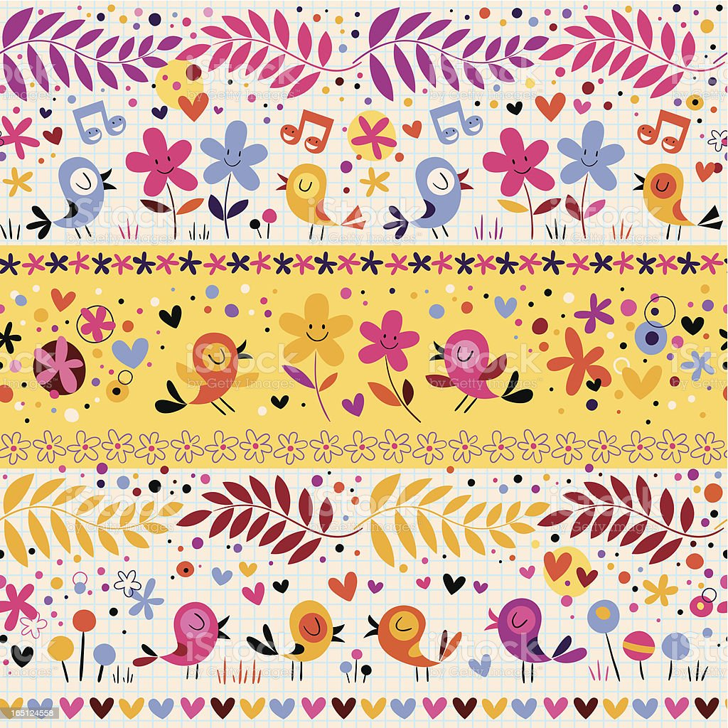 birds and flowers pattern royalty-free stock vector art