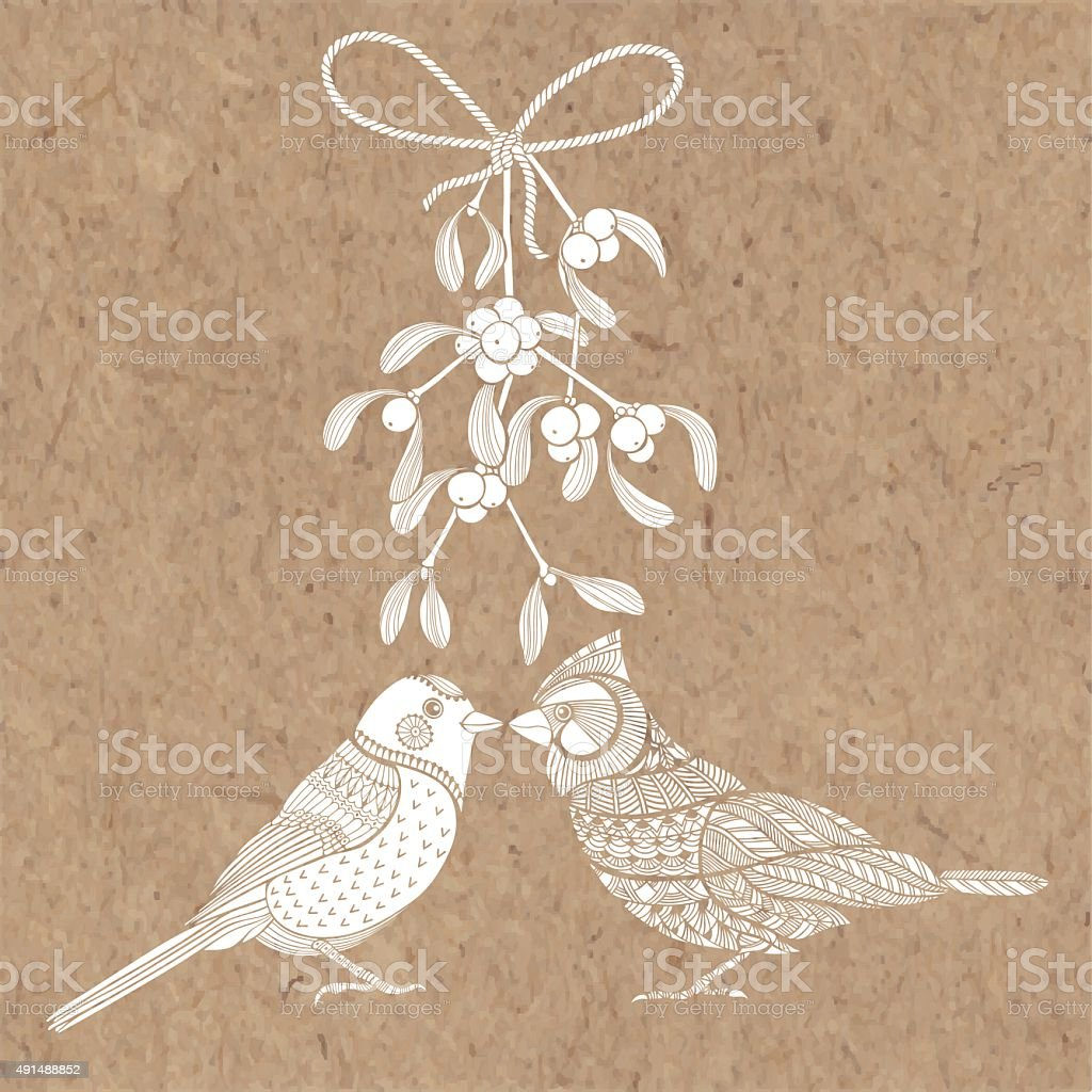 Birds and mistletoe. Vector illustration on kraft paper. vector art illustration