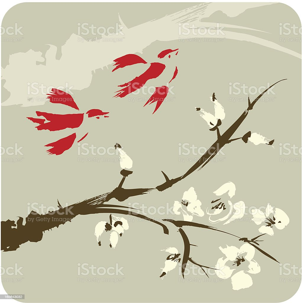 Birds and the Blossom Tree royalty-free stock vector art