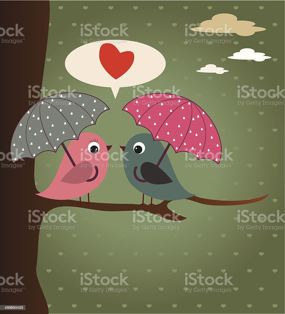 Birds and umbrellas royalty-free stock vector art